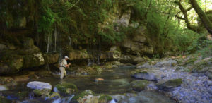 creek fishing waterfall mountains